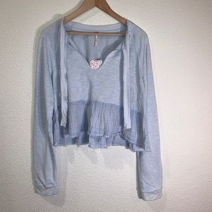 FREE PEOPLE COLOR BLOCKED  CROP TOP NWT